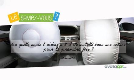 En quelle année l'airbag a-t-il été installé dans une voiture pour la première fois ?