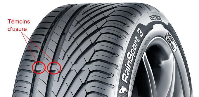 Témoin d'usure pneus